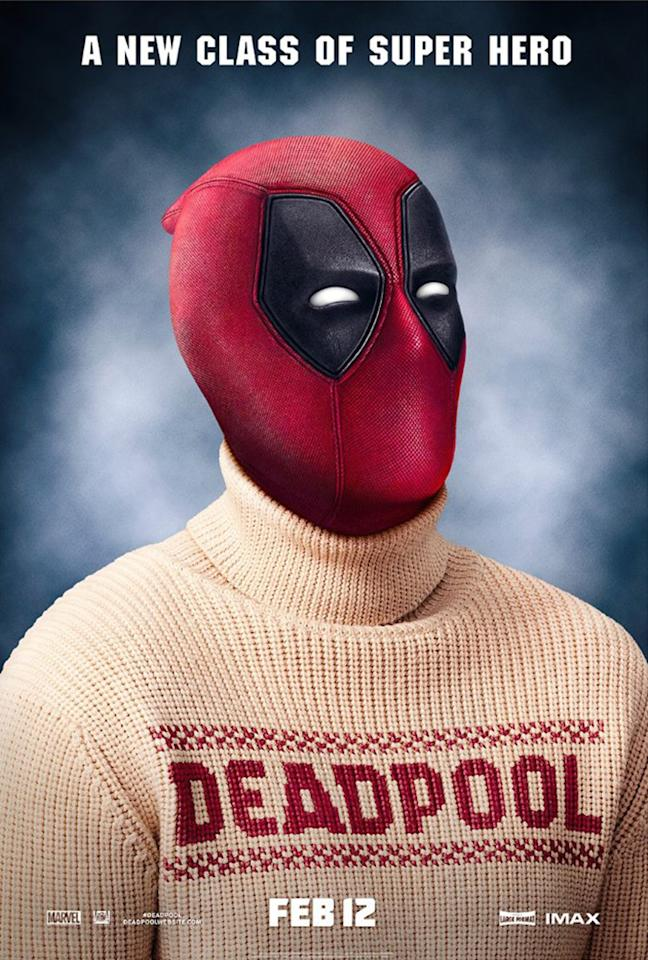 <p>The Merc with a Mouth is intimidating even in his ugly turtleneck sweater in one of several clever posters for the hit flick. (Photo: 20th Century Fox) </p>