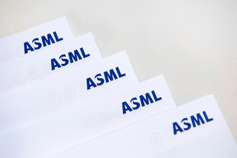 ASML logos are seen at the headquarters in Veldhoven