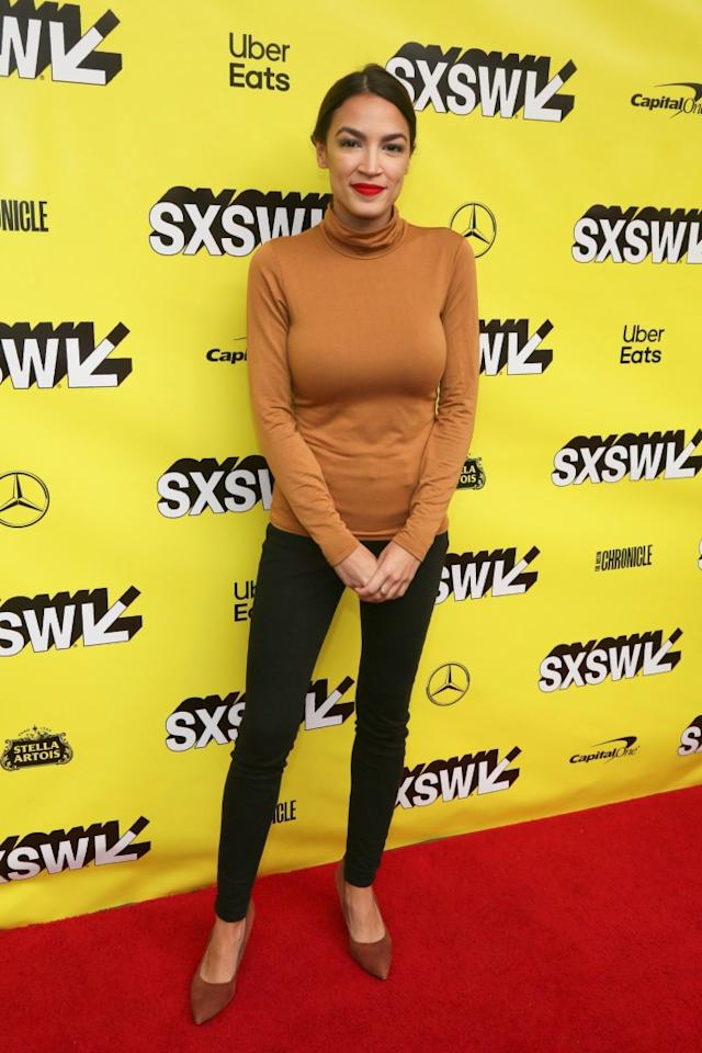 """Rep. Alexandria Ocasio-Cortez wearing brown heels at the premiere of """"Knock Down the House"""" at SXSW."""