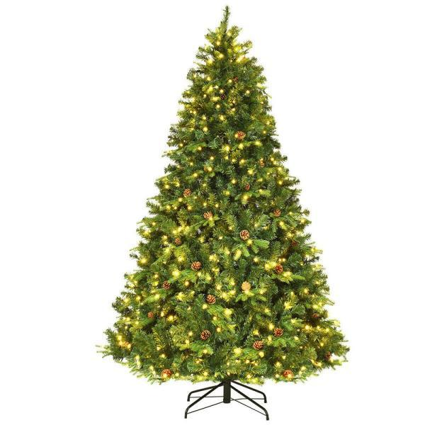 Costway 7.5-Foot Pre-Lit Artificial Christmas with Pine Cones