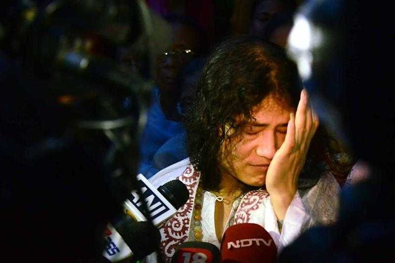 Indian rights activist Irom Sharmila, who has been on hunger strike for 14 years, pictured surrounded by media following her release from a hospital jail in Imphal, in India's northeastern Manipur state, on August 20, 2014