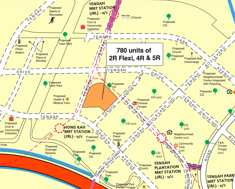 Locality map of the May 2021 Tengah BTO flats