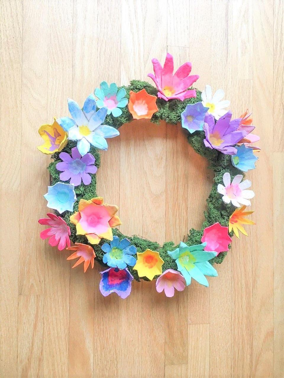 """<p>You're undoubtedly buying a lot of eggs these days, so why not make a flower wreath from the old cartons? It's an ingenious way to put them to good use, and the """"blooms"""" will look really beautiful. </p><p><strong>Get the tutorial at <a href=""""https://makingthingsisawesome.com/diy-flower-wreath/"""" rel=""""nofollow noopener"""" target=""""_blank"""" data-ylk=""""slk:Making Things Is Awesome"""" class=""""link rapid-noclick-resp"""">Making Things Is Awesome</a>.</strong></p><p><a class=""""link rapid-noclick-resp"""" href=""""https://go.redirectingat.com?id=74968X1596630&url=https%3A%2F%2Fwww.walmart.com%2Fip%2FAcrylic-Paint-Brushes-Set-EEEkit-12PCS-Tip-Artist-Paintbrushes-Nylon-Hair-Oil-Watercolor-Painting-Face-Body-Model-Paint-Nail-Art-Miniature-Detailing-%2F288936616&sref=https%3A%2F%2Fwww.thepioneerwoman.com%2Fhome-lifestyle%2Fcrafts-diy%2Fg35698457%2Fdiy-easter-wreath-ideas%2F"""" rel=""""nofollow noopener"""" target=""""_blank"""" data-ylk=""""slk:SHOP PAINT BRUSHES"""">SHOP PAINT BRUSHES</a></p>"""