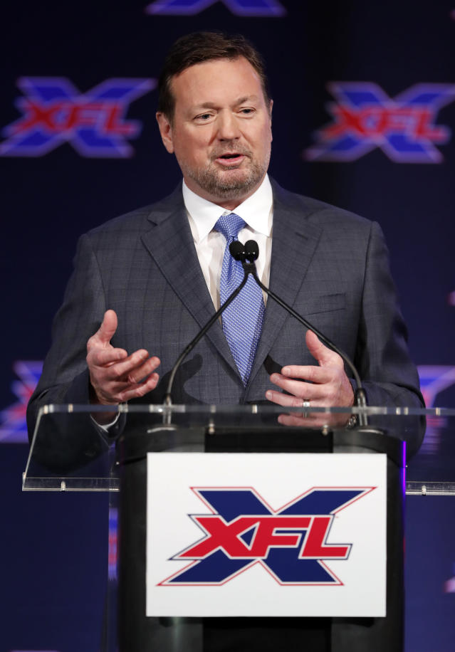 Bob Stoops makes comments after being introduced as the new head coach and general manager of the XFL Dallas football team during a news conference in Arlington, Texas, Thursday, Feb. 7, 2019. (AP Photo/Tony Gutierrez)