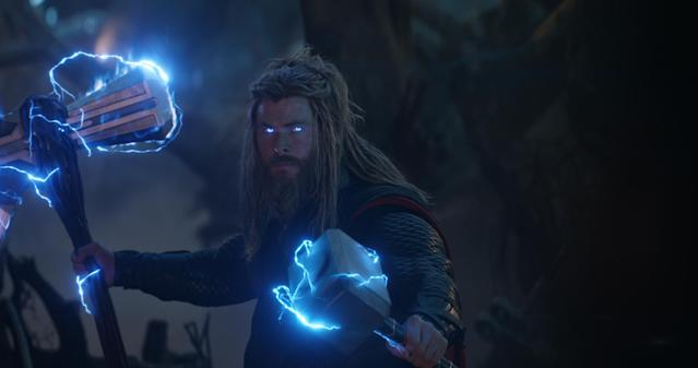 Thor (Chris Hemsworth) is battle ready by the finale of <i>Endgame</i>.
