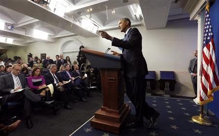 U.S. President Obama holds a news conference about the federal government shutdown in the briefing room of the White House in Washington