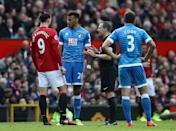 Tyrone Mings is sent off for an alleged stamp on Zlatan Ibrahimovic.