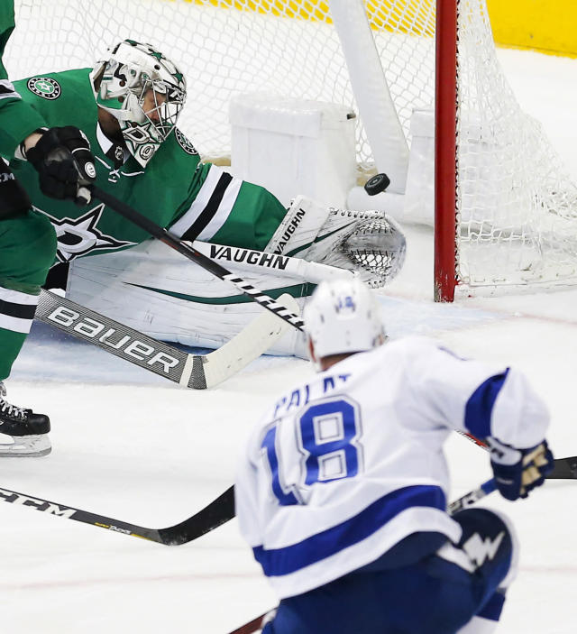 Dallas Stars goaltender Anton Khudobin (35) is unable to stop a shot by Tampa Bay Lightning forward Ondrej Palat (18) during the first period of an NHL hockey game, Tuesday, Jan. 15, 2019, in Dallas. (AP Photo/Brandon Wade)