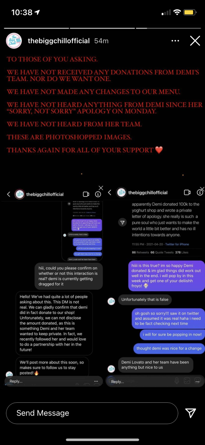 A screenshot of text from the Bigg Chill's Instagram story.