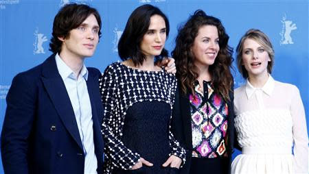 "Director Claudia Llosa (2nd R) poses with cast members Cillian Murphy (L-R), Jennifer Connelly and Melanie Laurent during a photocall to promote the movie ""Aloft"" at the 64th Berlinale International Film Festival in Berlin February 12, 2014. REUTERS/Tobias Schwarz"