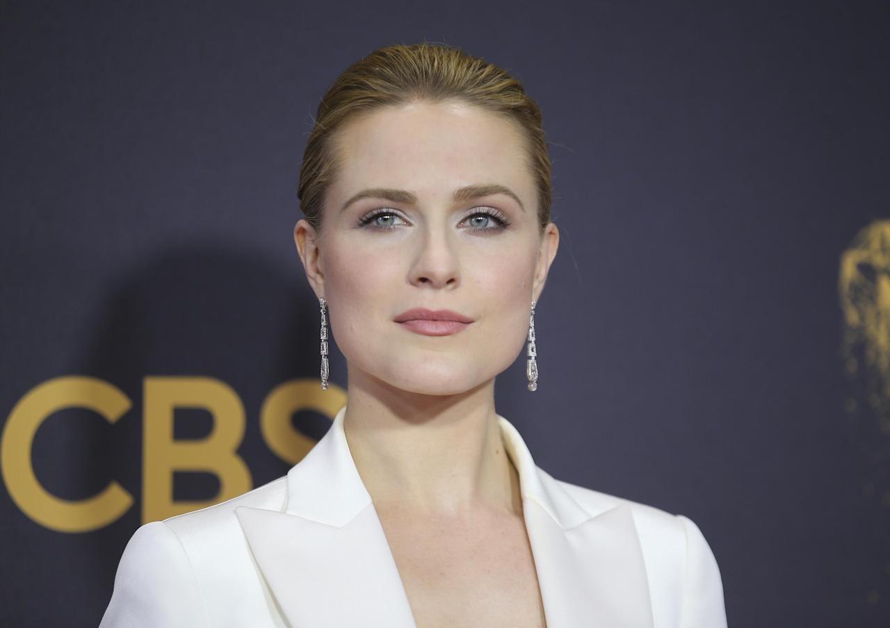 """Evan Rachel Wood says """"Westworld"""" Season 2 is going to continue surprising fans the same way it did in its first season. In this photo, the actress arrives at the 69th Primetime Emmy Awards in Los Angeles, on Sept. 17, 2017."""