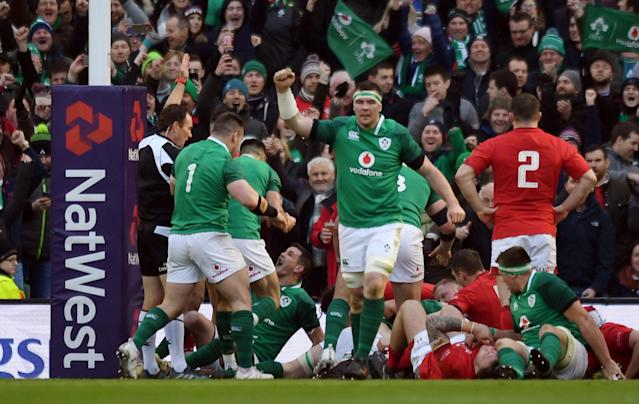 Rugby Union - Six Nations Championship - Ireland vs Wales - Aviva Stadium, Dublin, Republic of Ireland - February 24, 2018 Ireland's Johnny Sexton celebrates after their third try scored by Dan Leavy (hidden) REUTERS/Clodagh Kilcoyne