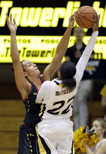 Maryland center Malina Howard, left, blocks a shot attempt by Towson guard Tanisha McTiller during the first half of an NCAA college basketball game in Towson, Md., Tuesday, Dec. 11, 2012. (AP Photo/Patrick Semansky)