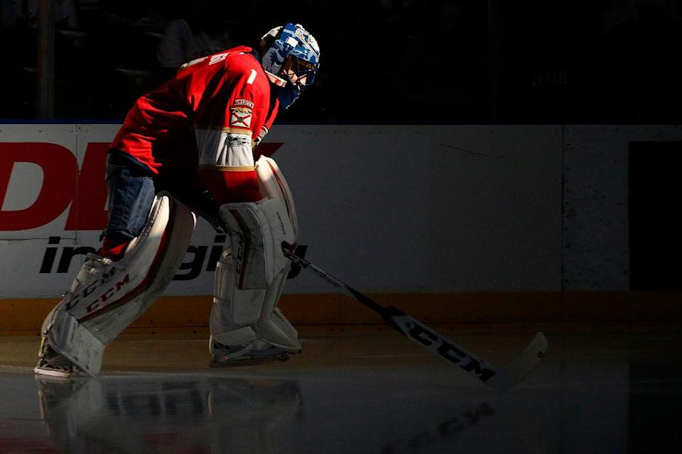 """SUNRISE, FL – JANUARY 31: Goaltender <a class=""""link rapid-noclick-resp"""" href=""""/nhl/players/1793/"""" data-ylk=""""slk:Roberto Luongo"""">Roberto Luongo</a> #1 of the Florida Panthers skates out to the net prior to the start of the game against the <a class=""""link rapid-noclick-resp"""" href=""""/nhl/teams/ott/"""" data-ylk=""""slk:Ottawa Senators"""">Ottawa Senators</a> at the BB&T Center on January 31, 2017 in Sunrise, Florida. (Photo by Eliot J. Schechter/NHLI via Getty Images)"""