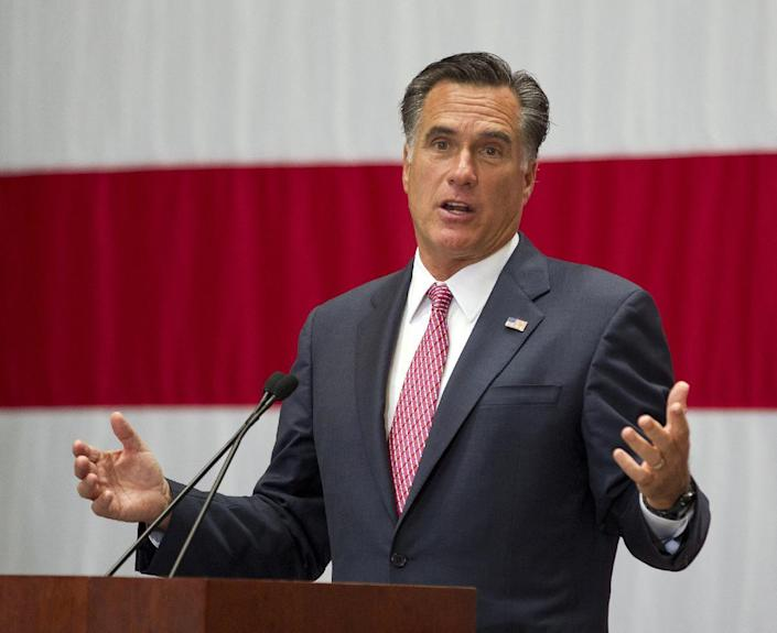 FILE - In this June 6, 2012 file photo, Republican presidential candidate, former Massachusetts Gov. Mitt Romney speaks, in San Antonio, Texas. Mitt Romney out raised President Barack Obama in May, the first time the Republican presidential challenger has jumped ahead of Obama and his prodigious fundraising apparatus. The numbers illustrate how Romney and the Republican Party have jelled as a force after a protracted GOP primary. (AP Photo/Evan Vucci, File)