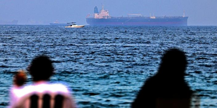 The Israeli-linked Japanese-owned tanker MT Mercer Street is seen off the port of the Gulf Emirate of Fujairah in the United Arab Emirates on August 3, 2021
