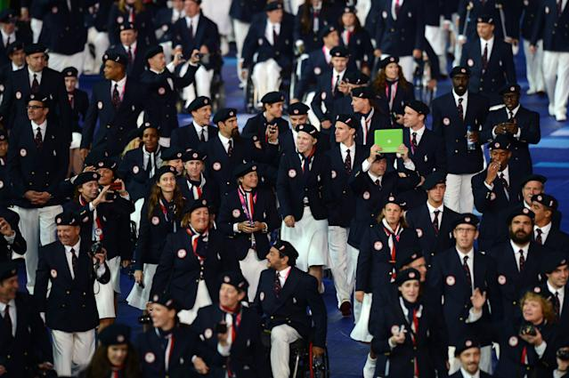 LONDON, ENGLAND - AUGUST 29: Athletes from the United States during the Opening Ceremony of the London 2012 Paralympics at the Olympic Stadium on August 29, 2012 in London, England. (Photo by Gareth Copley/Getty Images)