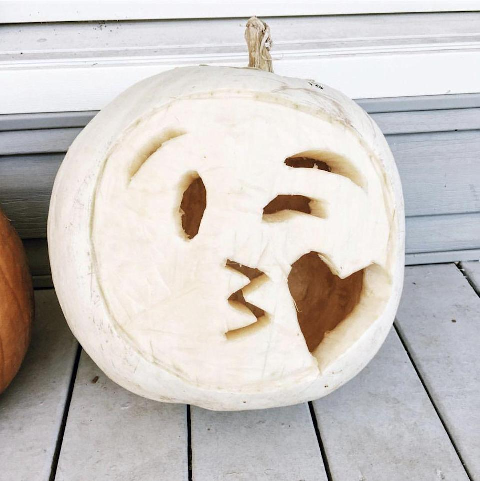 """<p>Make your creation stand out by carving a white pumpkin instead of the usual orange. It'll glow especially bright at night. </p><p><strong>See more at <a href=""""https://www.instagram.com/p/BMCDK0Phd14/"""" rel=""""nofollow noopener"""" target=""""_blank"""" data-ylk=""""slk:@carolyncarter"""" class=""""link rapid-noclick-resp"""">@carolyncarter</a>.</strong></p><p><strong><strong><strong><a class=""""link rapid-noclick-resp"""" href=""""https://www.amazon.com/GoStock-Professional-Halloween-Stainless-Lanterns/dp/B08B5Z4XQ9/?tag=syn-yahoo-20&ascsubtag=%5Bartid%7C10050.g.22133548%5Bsrc%7Cyahoo-us"""" rel=""""nofollow noopener"""" target=""""_blank"""" data-ylk=""""slk:SHOP CARVING KITS"""">SHOP CARVING KITS</a></strong></strong><br></strong></p>"""