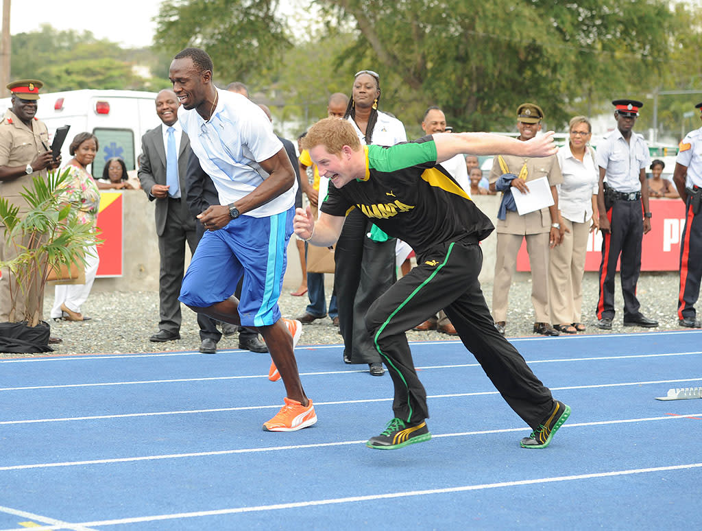 "And they're off! Prince Harry challenged the world-record-holding  athlete to a race and actually won ... by cheating. The royal heir  began the race before the officials said ""ready, set, go."" Usain didn't  seem to mind ... (3/6/2012)"