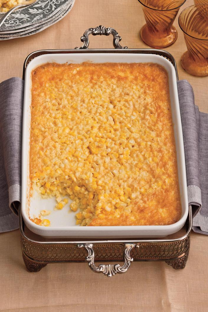 "<p><b>Recipe: <a href=""https://www.southernliving.com/recipes/tees-corn-pudding-recipe"" rel=""nofollow noopener"" target=""_blank"" data-ylk=""slk:Tee's Corn Pudding"" class=""link rapid-noclick-resp"">Tee's Corn Pudding</a></b></p> <p>When you're serving a crowd, grilling a bunch of corn on the cob can just be too complicated. This spoonable corn pudding brings out the sweetness of corn in a party-friendly dish.</p>"