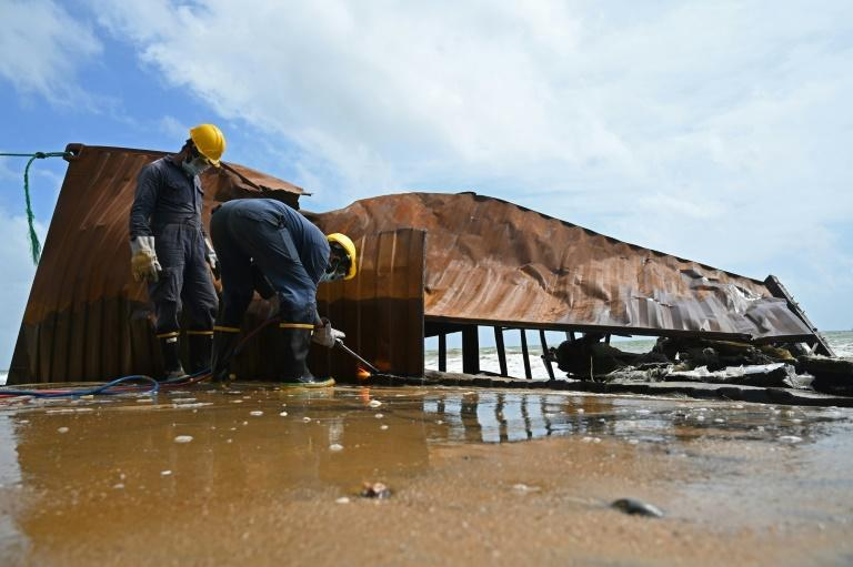 A cargo ship has been burning off Sri Lanka's coast for the 12th consecutive day, in one of the island's worst-ever marine ecological disasters