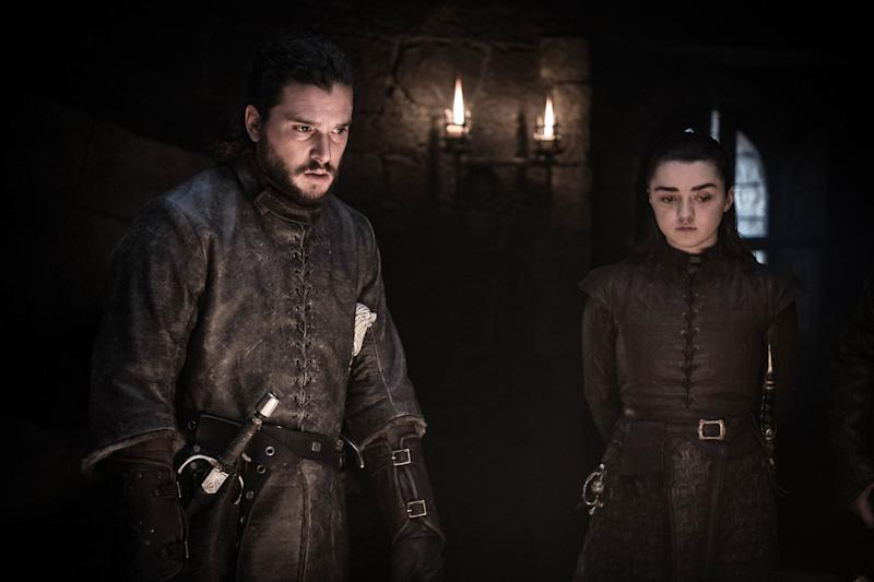 Kit Harington as Jon Snow and Maisie Williams as Arya Stark in <i>Game of Thrones</i>. (Photo: Helen Sloan/HBO)