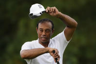 Tiger Woods waits to hit on the seventh hole during a practice round for the Masters golf tournament Wednesday, Nov. 11, 2020, in Augusta, Ga. (AP Photo/Matt Slocum)