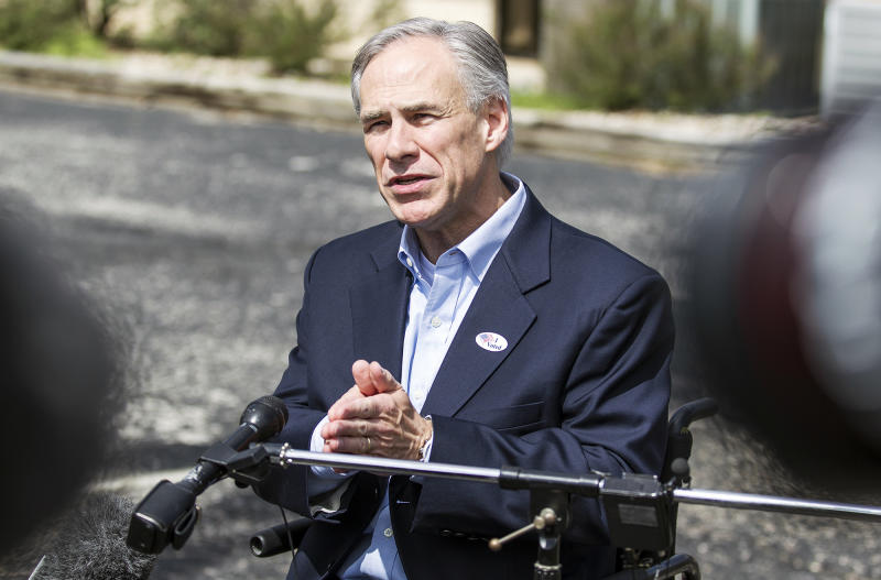 Republican gubernatorial candidate Greg Abbott speaks with the media after casting his vote at Western Hills Church of Christ in Austin, Texas, on Tuesday, March 4, 2014. (AP Photo/Austin American-Statesman, Ricardo Brazziell)
