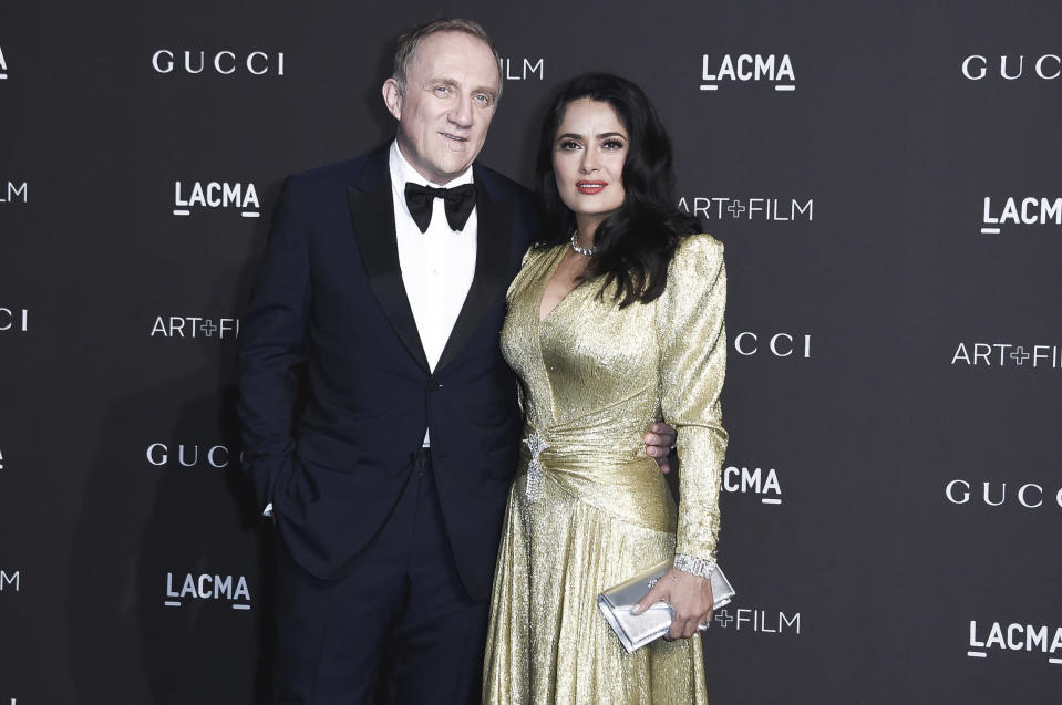 Francois Henri Pinault with wife Salma Hayek at the 2018 LACMA Art + Film Gala at Los Angeles County Museum of Art. Source: AAP