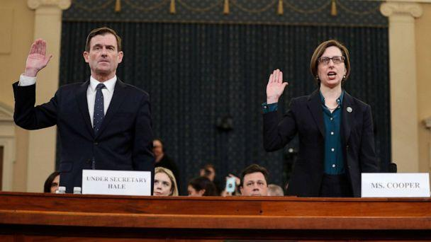 PHOTO: Deputy Assistant Secretary of Defense Laura Cooper, right, and State Department official David Hale, are sworn in to testify before the House Intelligence Committee on Capitol Hill in Washington, Nov. 20, 2019. (Andrew Harnik/AP)