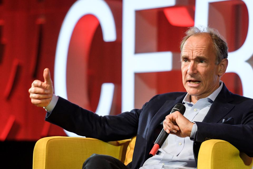 World Wide Web inventor Tim Berners-Lee delivers a speech during an event marking 30 years of World Wide Web, on March 12, 2019 at the CERN in Meyrin near Geneva, Switzerland. Fabrice Coffrini/Pool via REUTERS