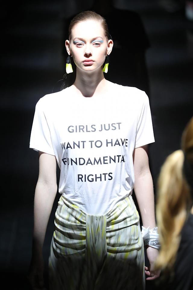 """<p>Other shirts from PG: """"I am a Malala,"""" """"My boyfriend is a feminist,"""" and """"Revolution has no borders."""" (Photo: Getty Images) </p>"""