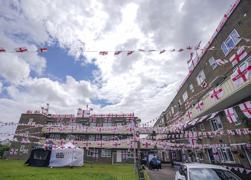 The residents of Towfield Court in Feltham have transformed their estate with England flags for the Euro 2020 tournament (PA Wire)