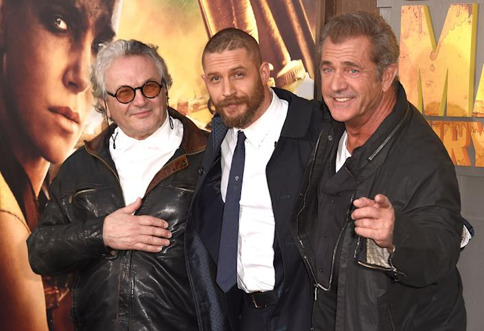 HOLLYWOOD, CA - MAY 07:  George Miller,Tom Hardy and Mel Gibson arrives at the