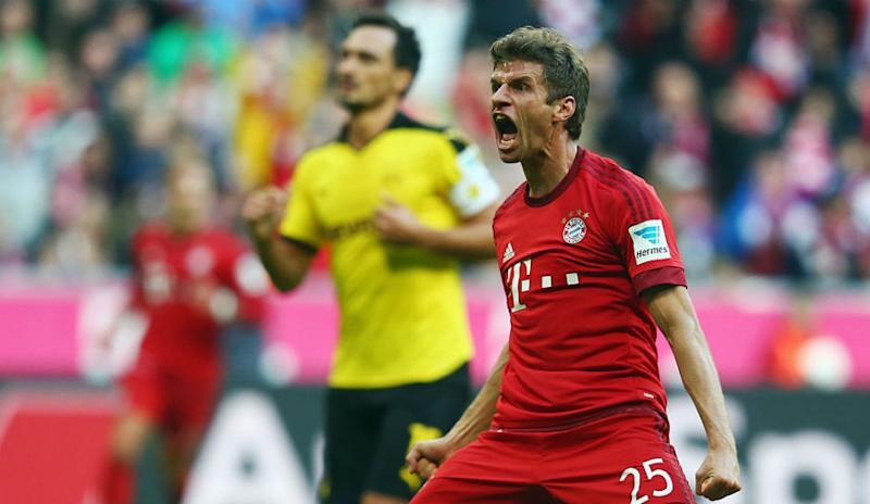 9699ba22c Thomas Muller of Munich celebrates his team s first goal during the  Bundesliga match between FC Bayern