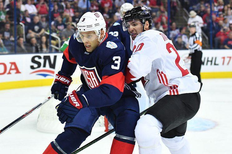 COLUMBUS, OH - SEPTEMBER 9: Jack Johnson #3 of Team USA and John Tavares #20 of Team Canada battle for position as they skate after the puck during the first period of an exhibition game on September 9, 2016 at Nationwide Arena in Columbus, Ohio. (Photo by Jamie Sabau/World Cup of Hockey via Getty Images)