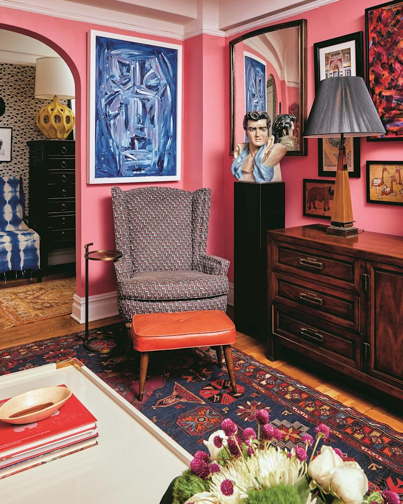 "Interior and textile designer Anthony Gianacakos is known for his ""colorful and livable choices."" So when Alison, the owner of this space, needed a refresh to her apartment on Manhattan's Upper West Side, he was the go-to person to fill the space with a mood and plenty of color."