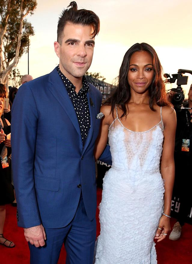<p><em><em>Zachary Quinto and Saldana attend the premiere of the third installment of their franchise on July 20, 2016. (Photo: Todd Williamson/Getty Images) </em></em></p>