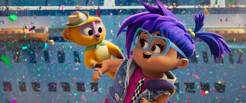 """Vivo (voiced by Lin-Manuel Miranda) and Gabi (Ynairaly Simo) team up to deliver an important song in the animated musical """"Vivo."""""""