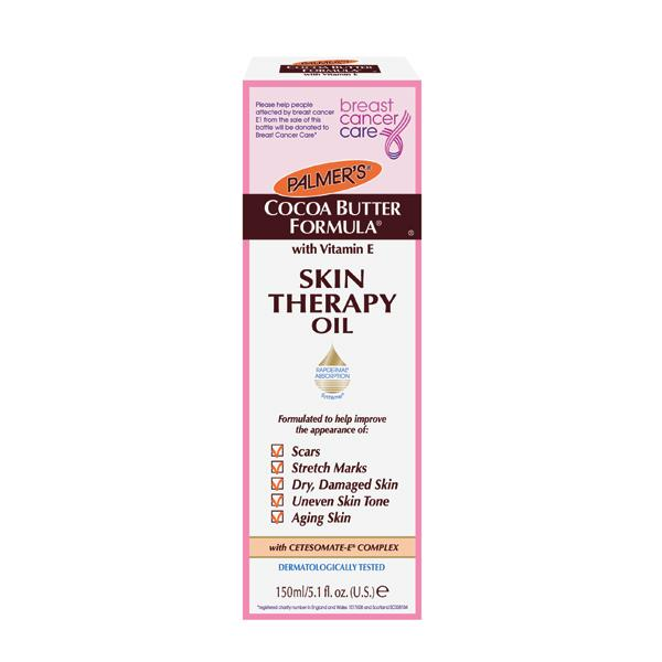 """<b>Skin Therapy Oil – £9.99 – Palmer's<br></b><br>Palmer's has introduced its award-winning, multi-purpose Skin Therapy Oil with a new pump spray, packaged in a limited edition pink box, with £1 from each sale going directly to <a href=""""http://www.breastcancercare.org.uk/"""" rel=""""nofollow noopener"""" target=""""_blank"""" data-ylk=""""slk:Breast Cancer Care"""" class=""""link rapid-noclick-resp"""">Breast Cancer Care</a>.<br><br>Available from Boots, Superdrug, Tesco and Sainsbury's stores from 8th October."""