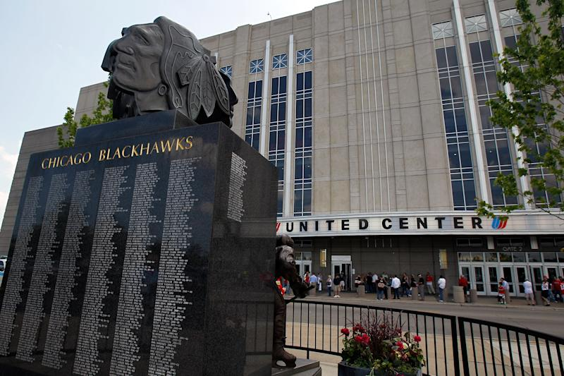 The Chicago Blackhawks statue outside of the United Center