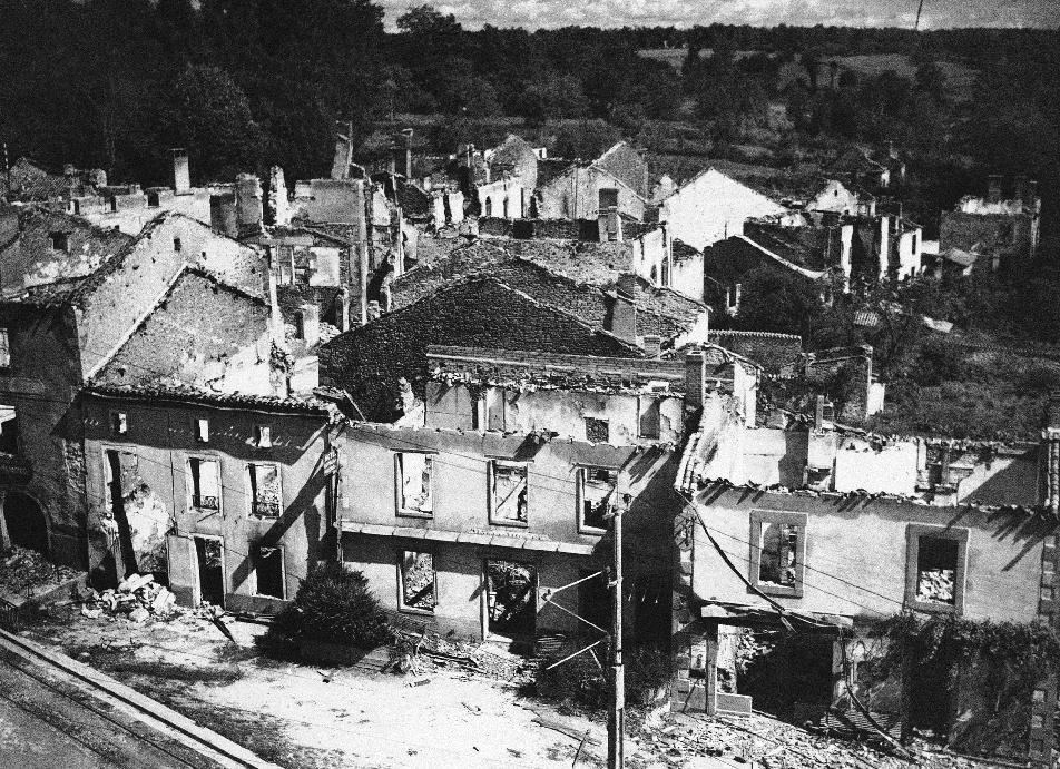 FILE - The 1953 photo shows the town of Oradour-sur-Glane, near Limoges, France. The town which has been burned down has been left in this state, as a permanent witness and the new village of Oradour has been re-built a few kilometers away from its original location. Six former members of an SS armored division that was responsible for the largest massacre in Nazi-occupied France are under investigation on possible charges of murder or accessory to murder, a prosecutor said Monday, Dec. 5, 2011. Dortmund prosecutor Andreas Brendel told The Associated Press he opened the investigation of the men earlier this year based on a precedent set by the trial of John Demjanjuk. The company was responsible for the June 10, 1944 massacre in Oradour-sur-Glane in central France, just four days after the D-Day landings in Normandy, in which the Germans killed 642 men, women and children. (AP Photo)