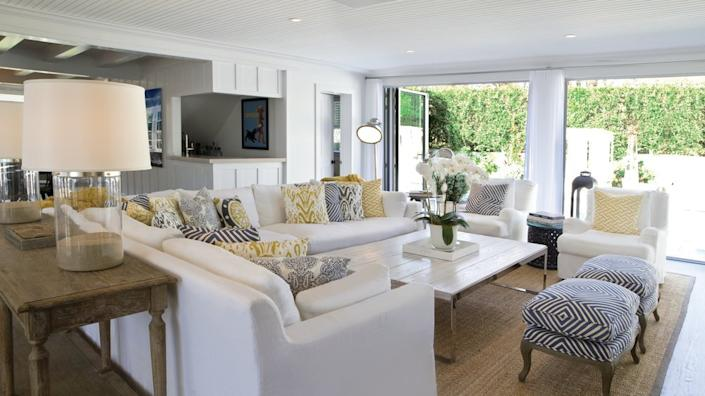 Hamptons style is all about soft white tones and subtle patterns.