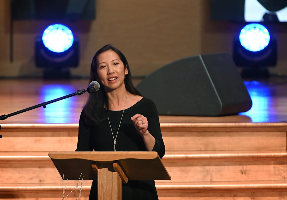Dr. Leana Wen, speaks at the funeral for U.S. Rep. Elijah Cummings at the New Psalmist Baptist Church in Baltimore, MD.  October 25, 2019. (Lloyd Fox/Baltimore Sun photo via Getty Images)