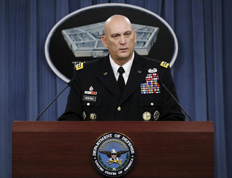 FILE - In this Jan. 27, 2012 file photo, Army Chief of Staff Gen. Raymond Odierno speaks at the Pentagon. Uncle Sam may still want you. But you? Maybe not so much. In sharp contrast to the peak years of the Iraq and Afghanistan wars, the Army last year took in no recruits with misconduct convictions or drug and alcohol issues, according to internal documents. And soldiers already serving on active duty must meet tougher standards to stay on for another tour in uniform. (AP Photo/Pablo Martinez Monsivais, File)