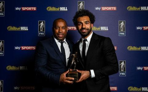 Troy Townsend awarding Mohamed Salah hi 2018 FWA Footballer of the Year trophy - Credit: PA Archive