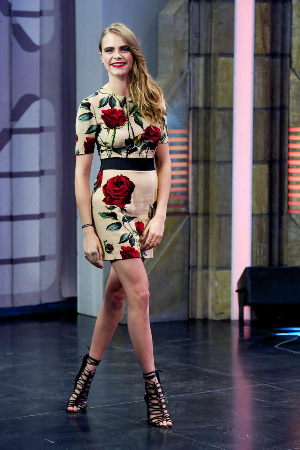 "<p>During a recent TV appearance in Madrid to promote her new film, ""Paper Towns,"" the supermodel-turned-actress looked lovely in a printed dress from the Italian fashion label.<br><br></p>"