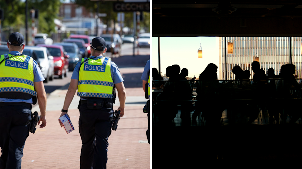 Police walk the streets, silhouette of busy restaurant.