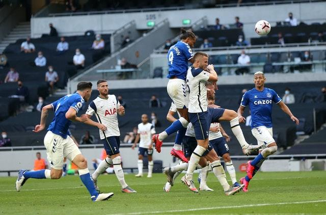 Everton's Dominic Calvert-Lewin, centre, sealed Everton's first win at Tottenham since 2008 with this thumping