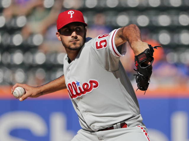 Philadelphia Phillies' Zach Eflin delivers a pitch during the first inning in the first game of a baseball doubleheader against the New York Mets, Monday, July 9, 2018, in New York. (AP Photo/Frank Franklin II)